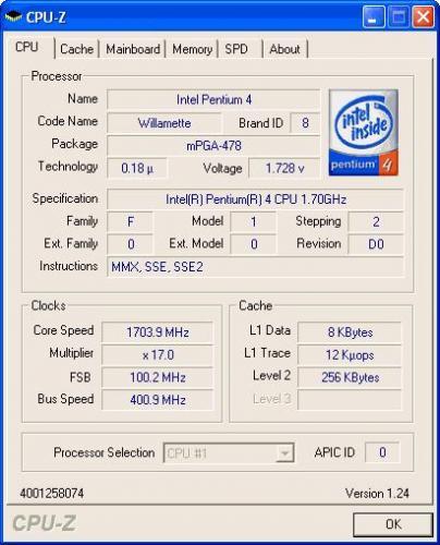 CPU Z 1.50