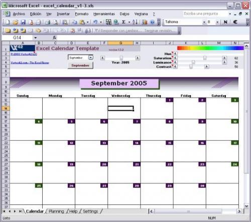 Excel Calendar Template - Download 1.3.2